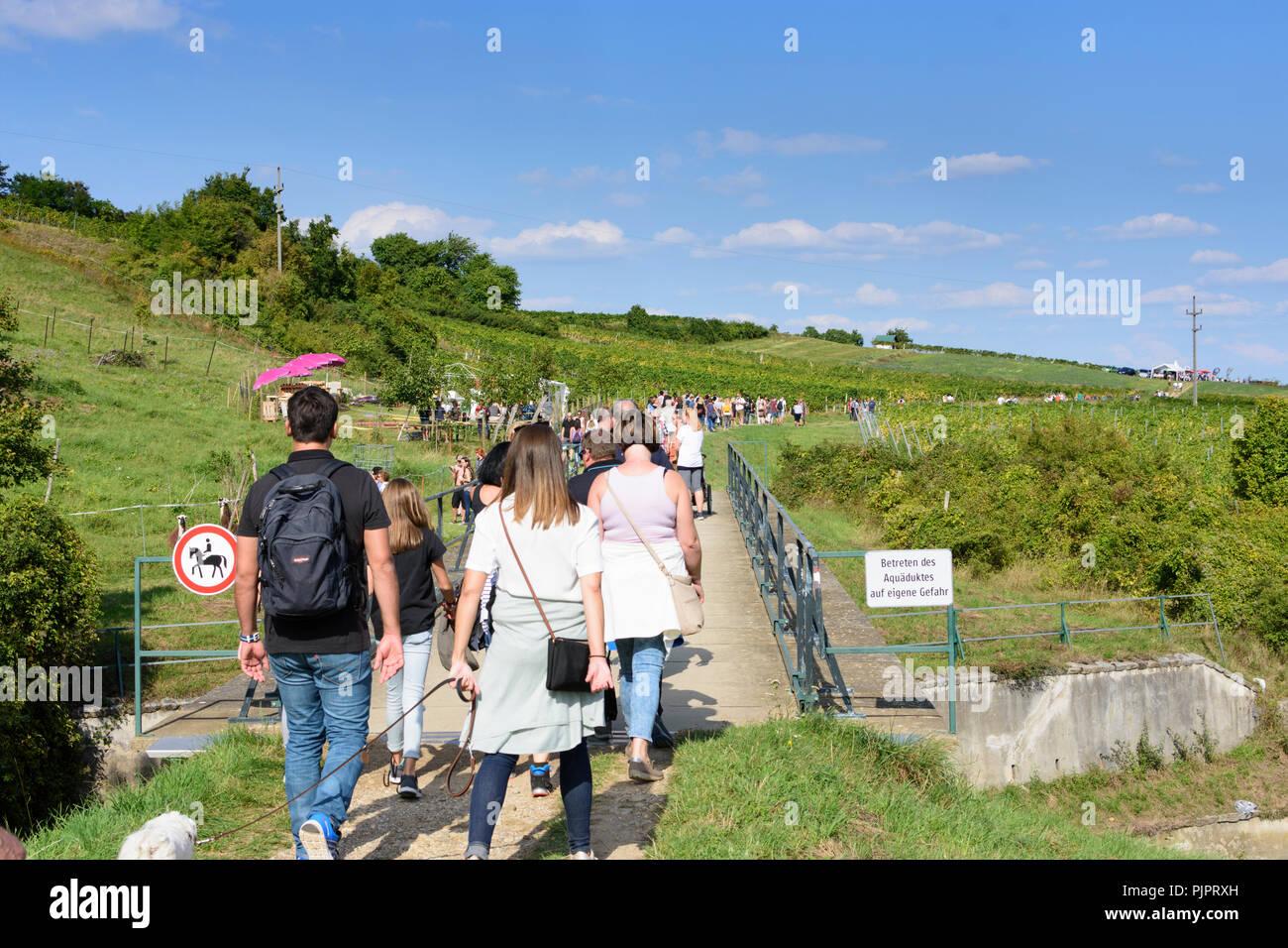 "Pfaffstätten: aqueduct of 1st Vienna water line, vineyard, bar at festival ""Genussmeile"" along 1st Vienna water line hiking path, winegrowing enterpri Stock Photo"