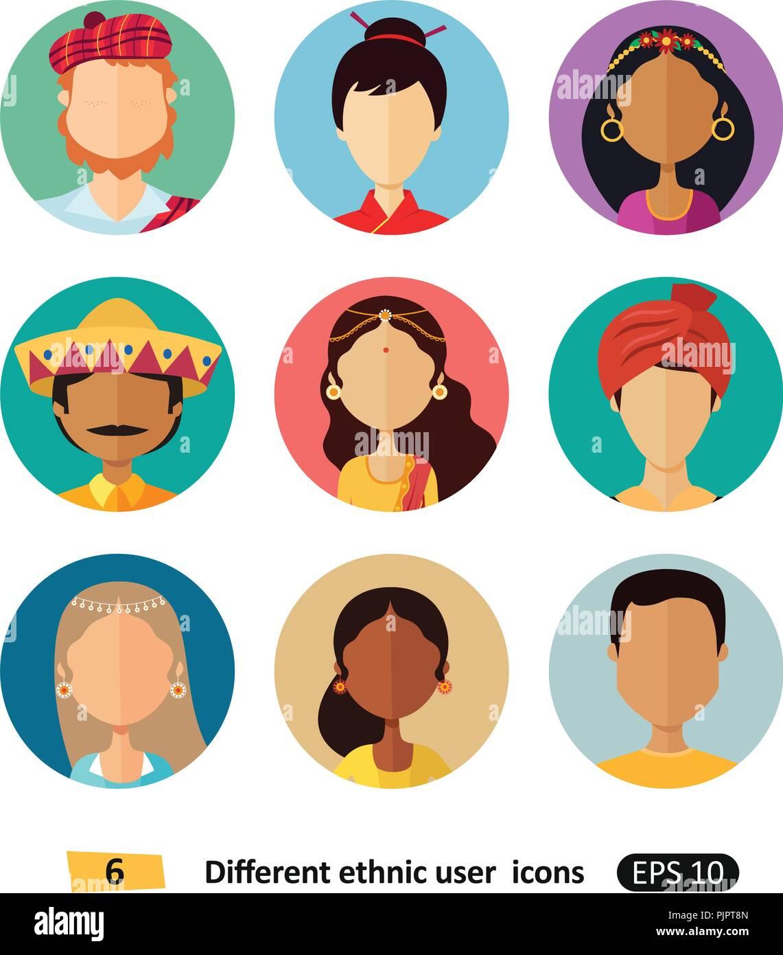Ethnic National: Multicultural National Ethnic People Cartoon Avatars Flat