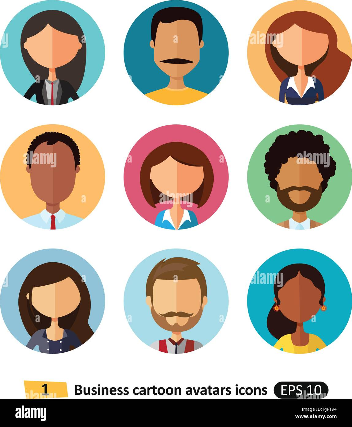 People business avatars collection flat icons of workers