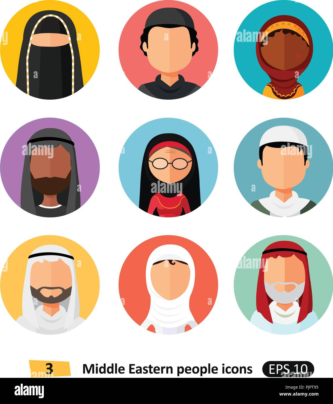 Vector middle eastern aran muslim people Icons avatar user - Stock Vector