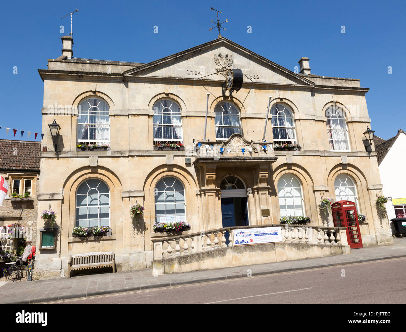 Georgian architecture of Town Hall building, Corsham, Wiltshire, England, UK dating from 1784 Stock Photo