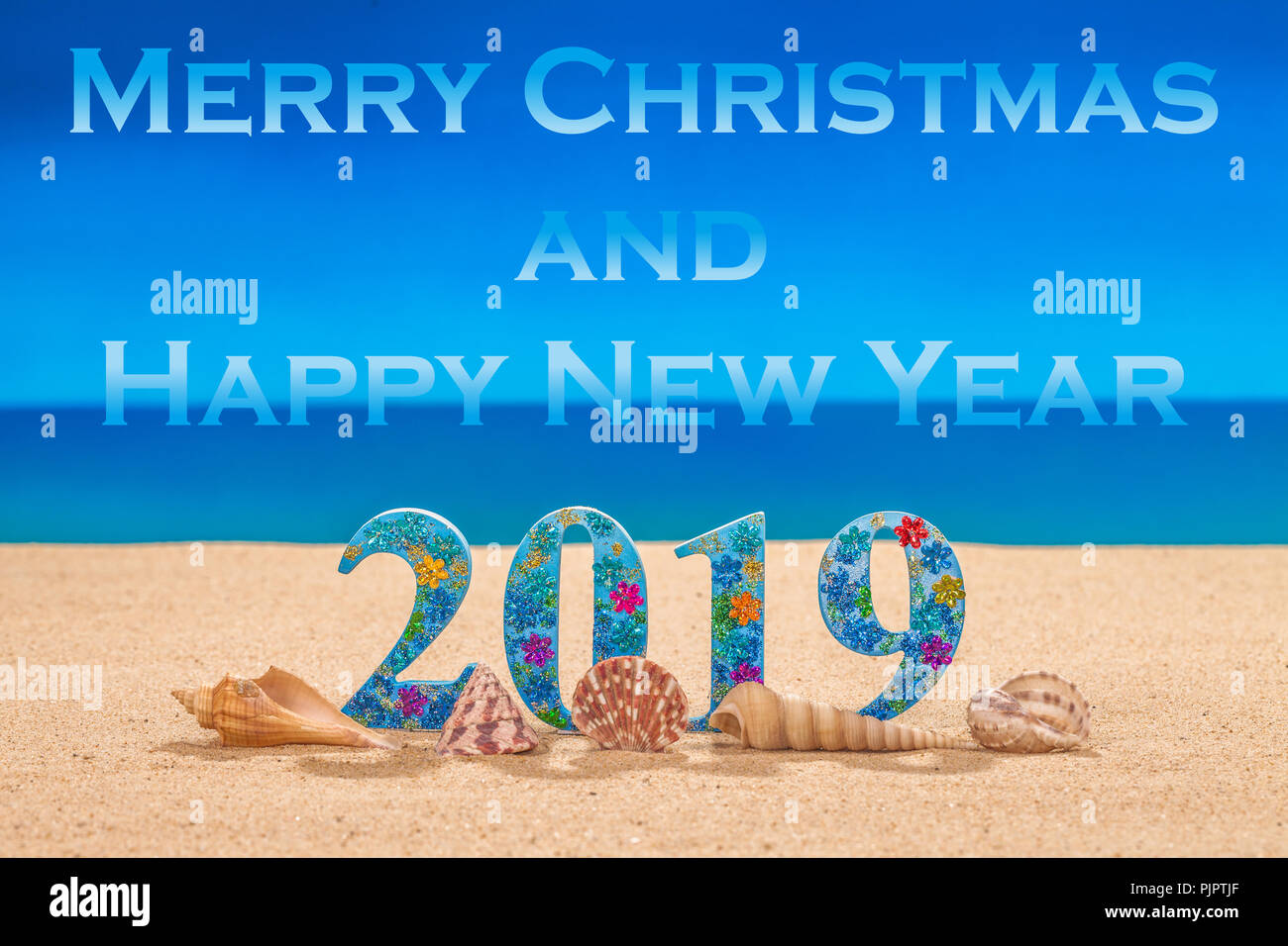 merry christmas and happy new year 2019 decorate with ...