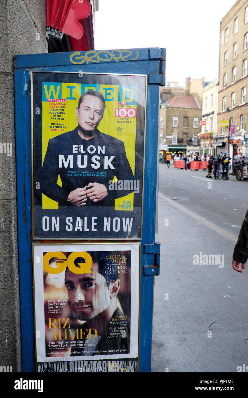 Entrepreneur Elon Musk on the cover of Wired Magazine and Actor Riz Ahmed on the front cover of GQ outside a newsagent in London UK  KATHY DEWITT - Stock Image