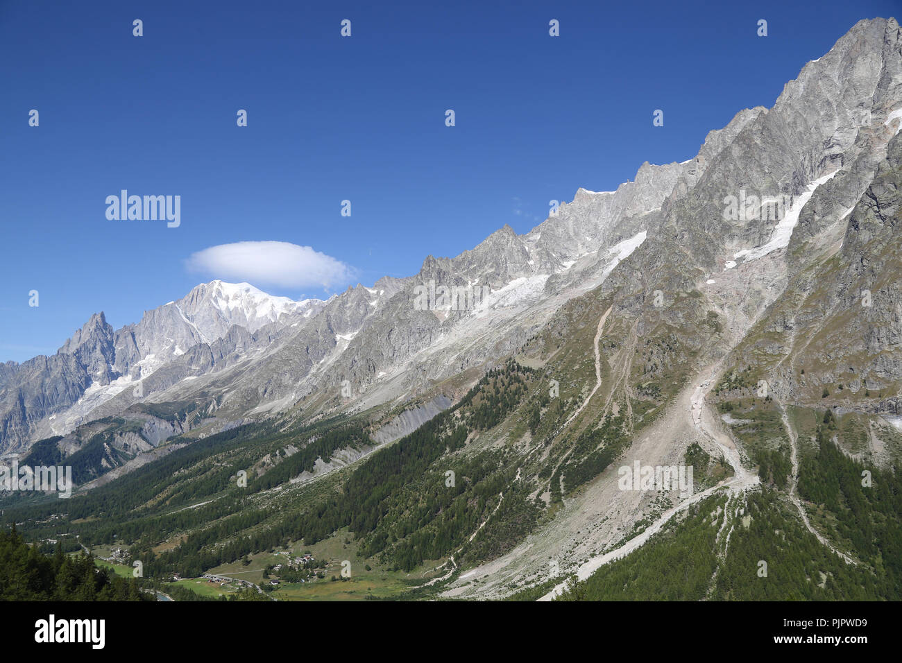 Panoramic view of Mont Blanc. Courmayeur - Stock Image