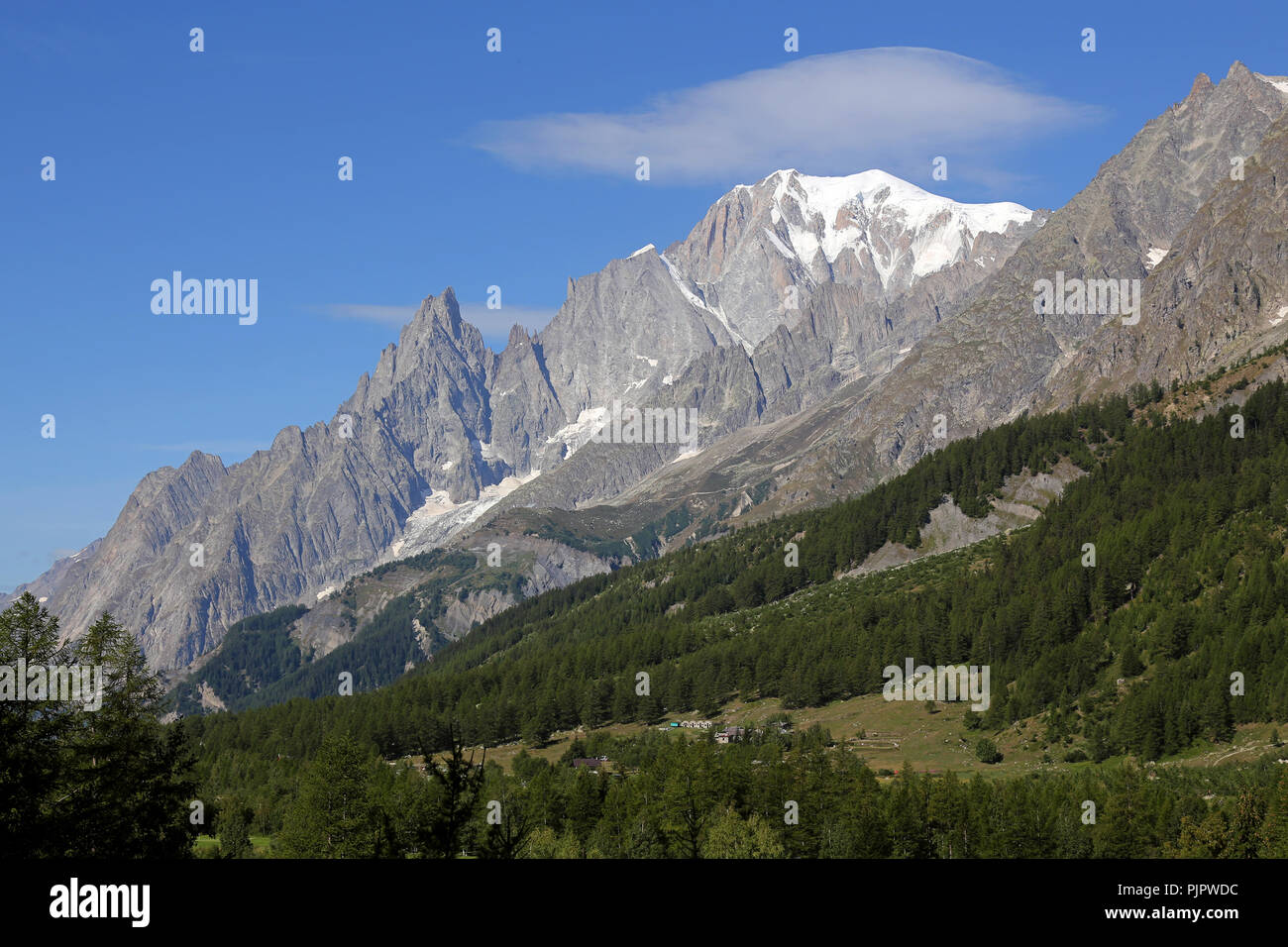 Mont Blanc massif and blue sky. Val Ferret in Courmayeur - Stock Image