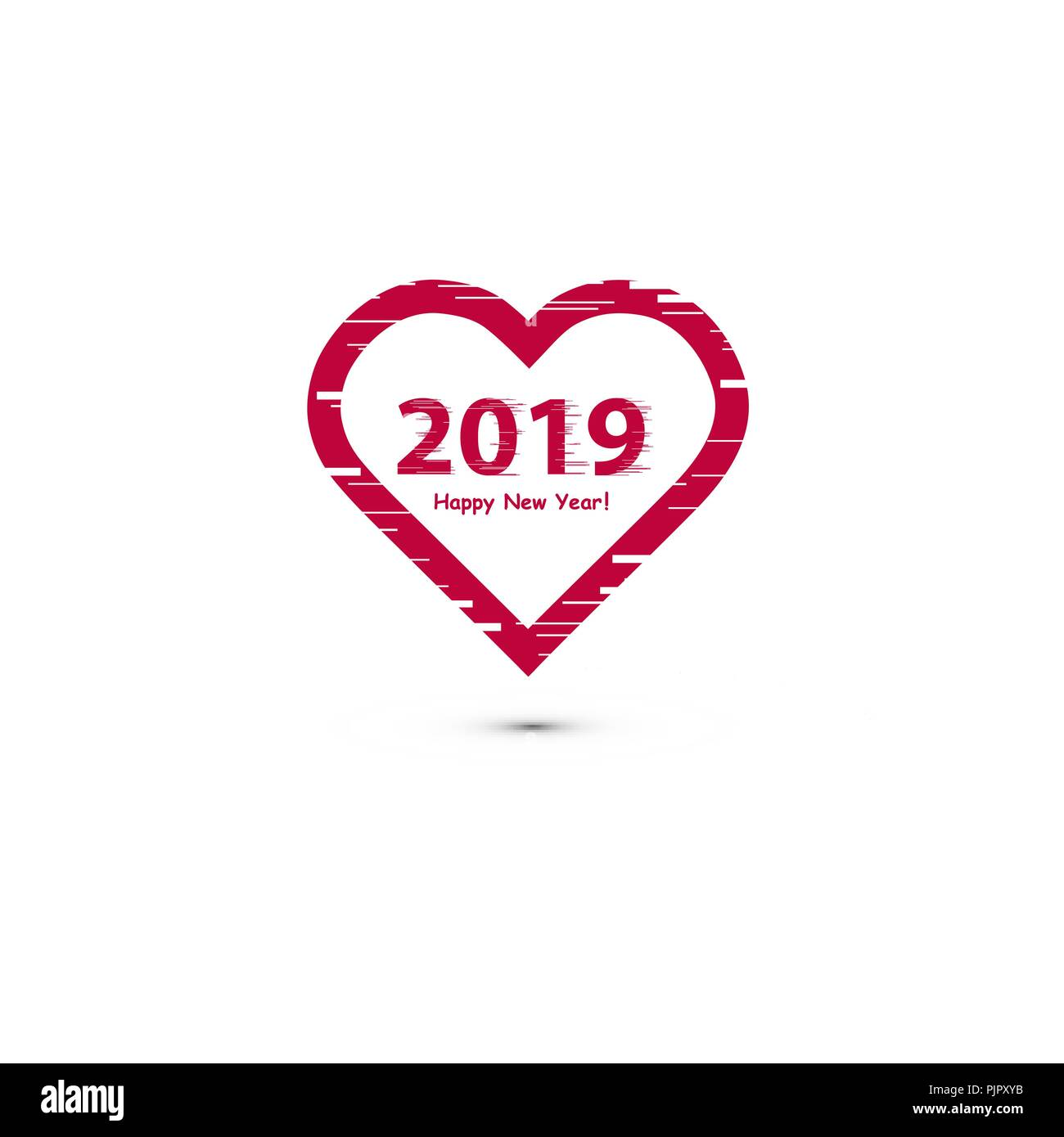 Creative happy new year 2019 design with line art heart - New year 2019 color ...
