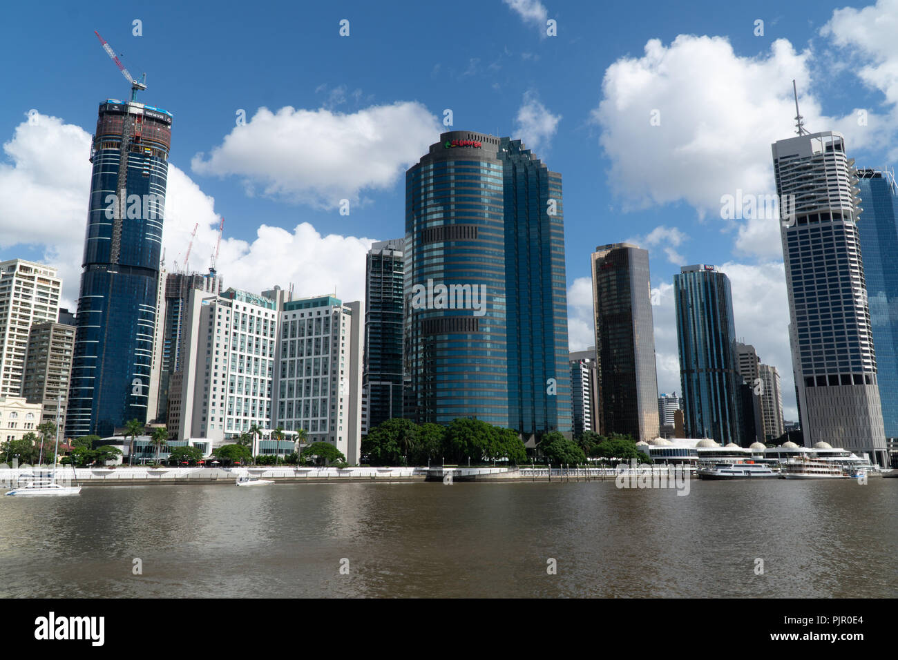 Panorama of modern skyscrapers on the Brisbane River, Australia - Stock Image