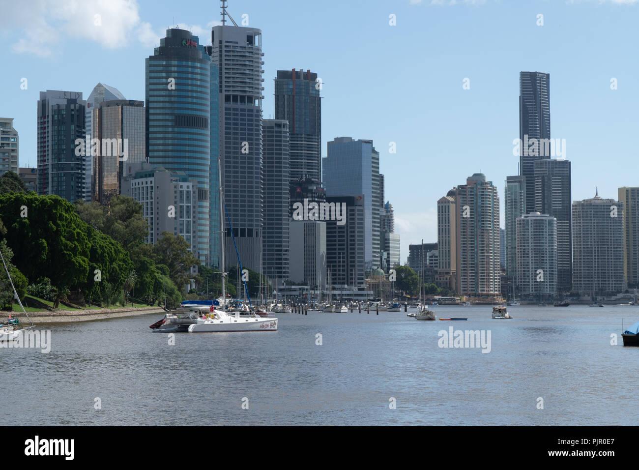 Panorama of modern skyscrapers in downtown Brisbane, Australia - Stock Image