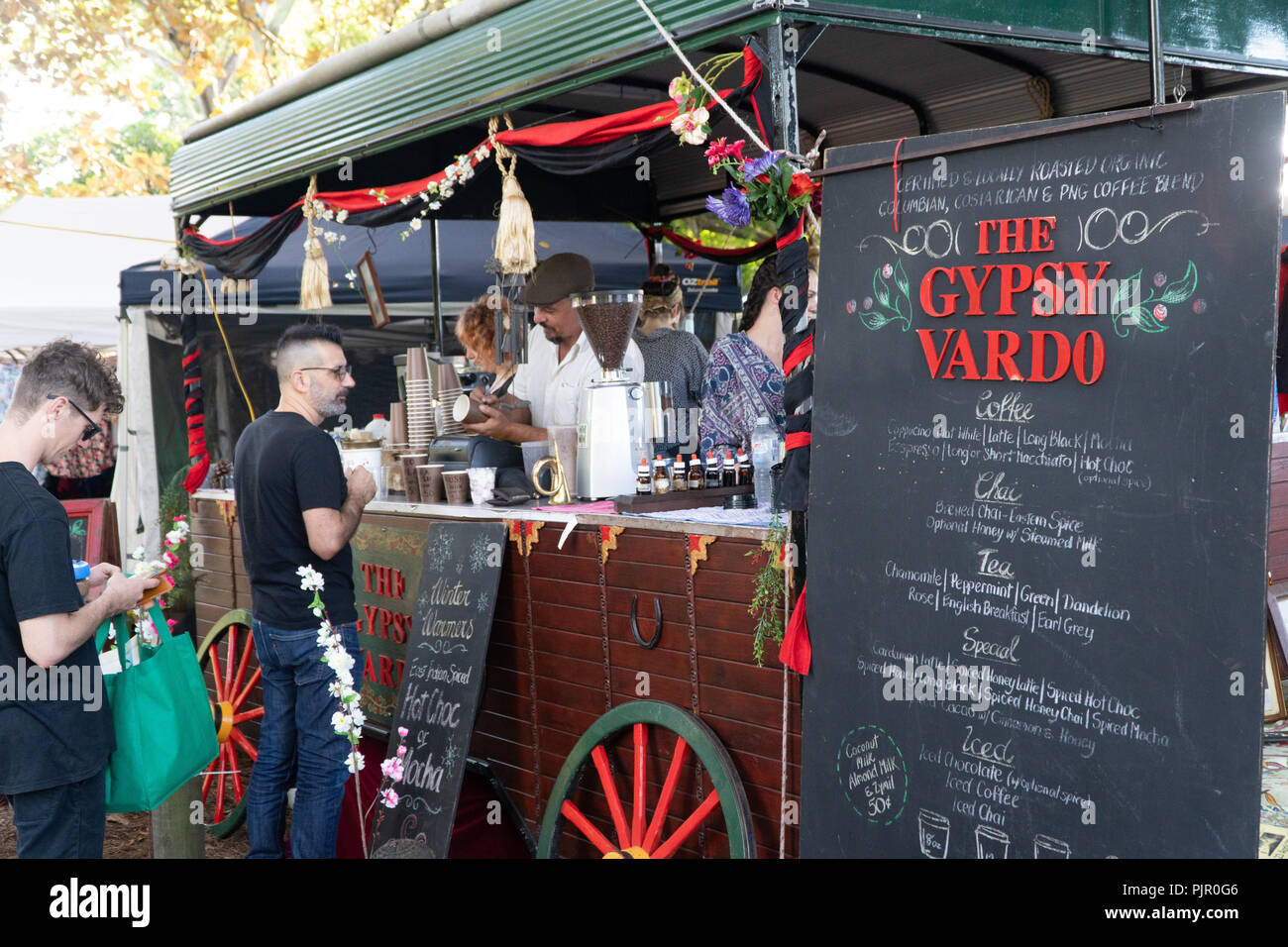Coffee sale from a gypsy car at a market in Brisbane, West End - Stock Image