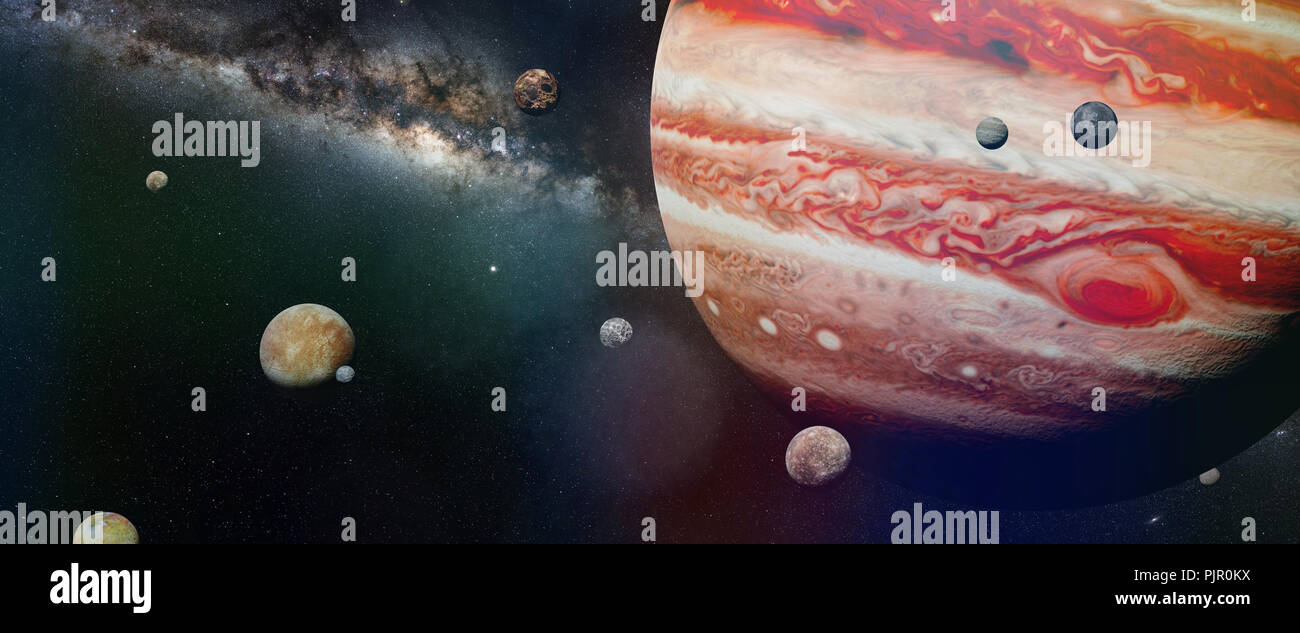 planet Jupiter with some of the 69 known moons with the Milky Way galaxy (3d space illustration, elements of this image are furnished by NASA) - Stock Image
