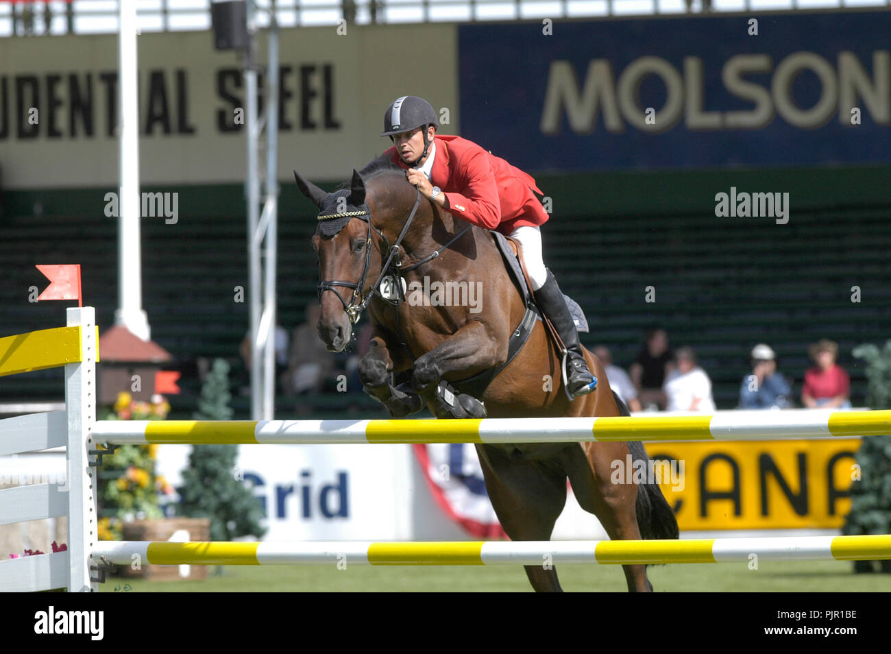CSIO Masters, Spruce Meadows, September 2005, Prudential Steel Cup, Marco Kutscher (GER) riding Cash 63 Stock Photo