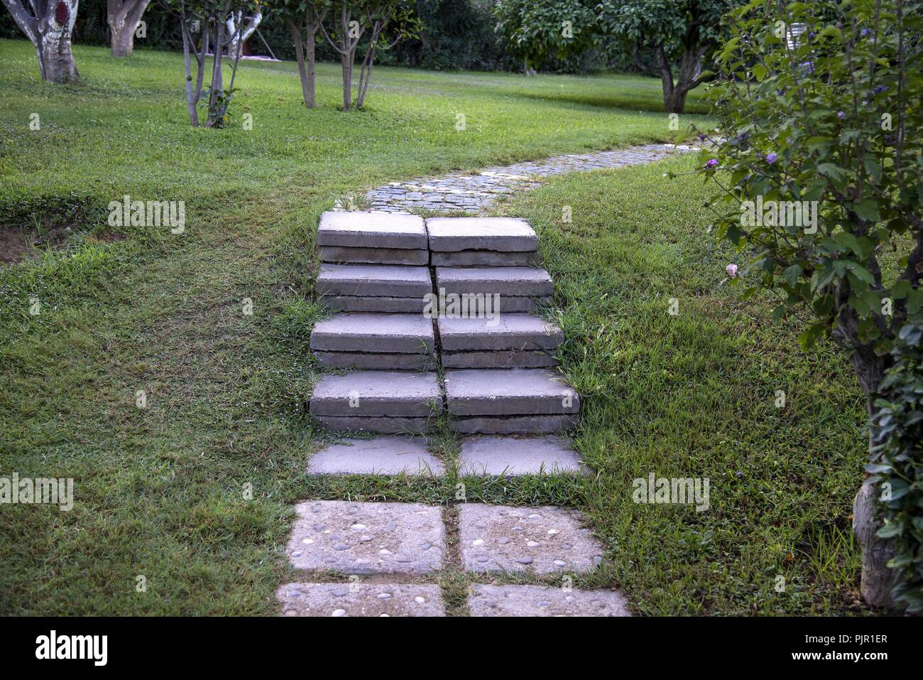 Stone And Wooden Outdoor Stairs In The Park Stock Photo ...