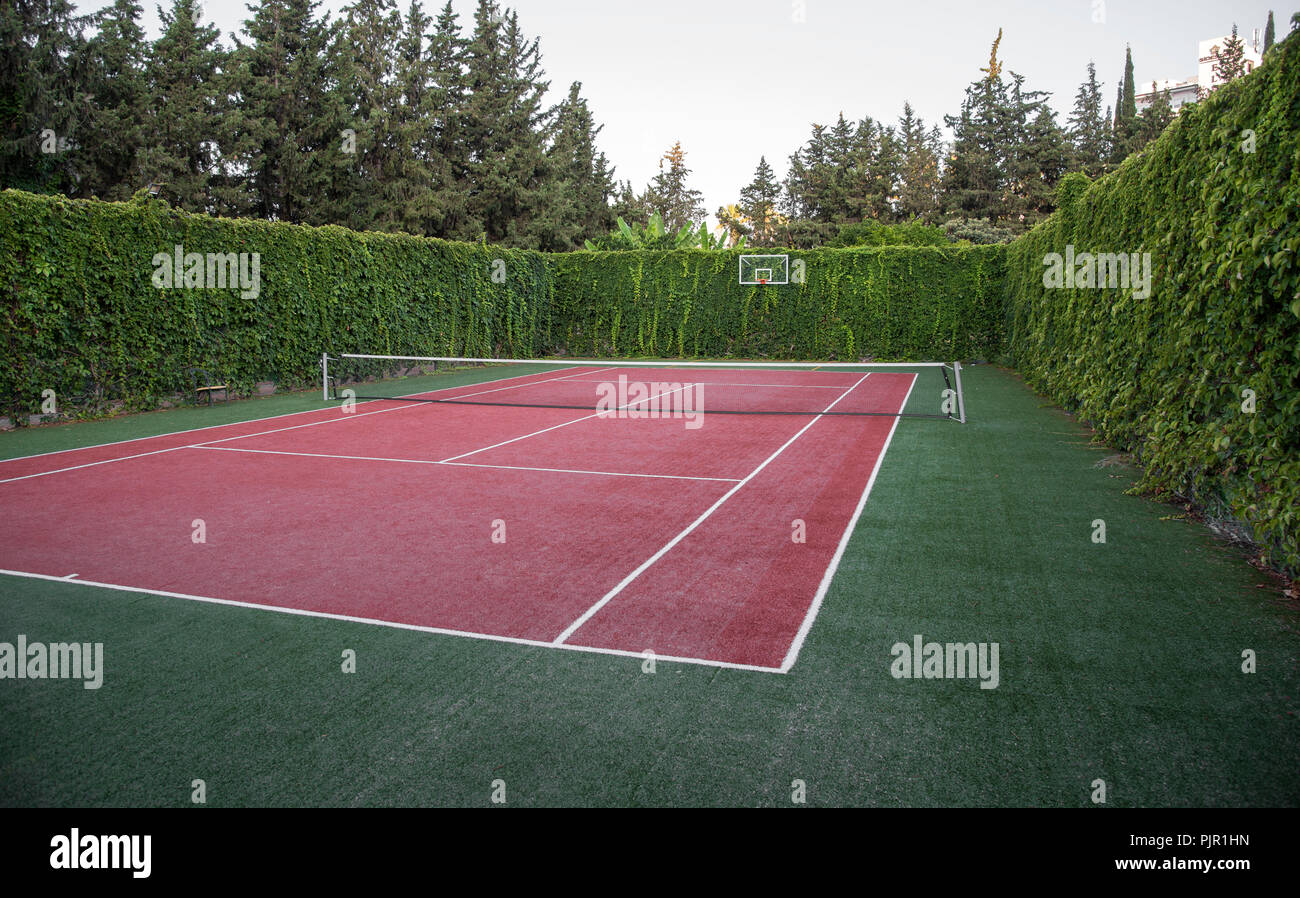 Artificial Surface Tennis Court Sport And Health Concept Stock