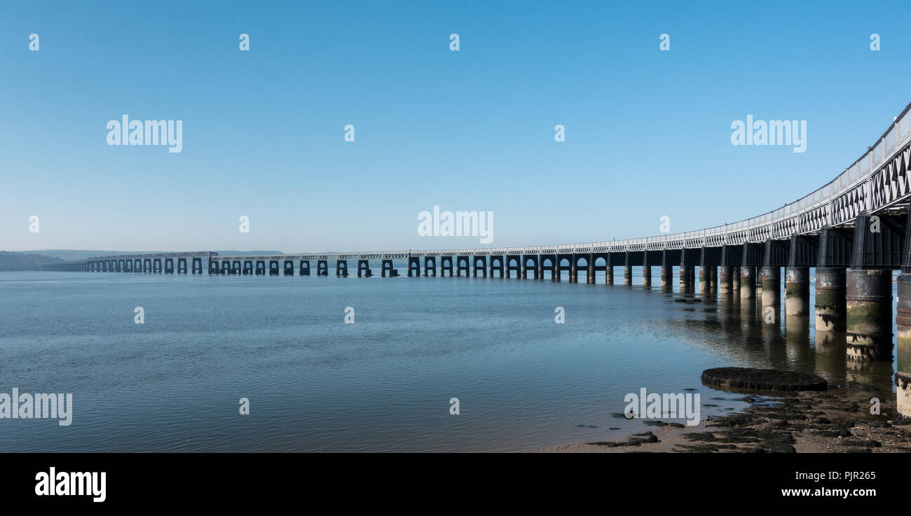 Rail Bridge over the River Tay, Scotland - Stock Image