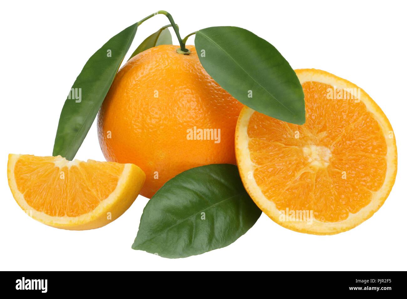 Orange fruit oranges with leaves isolated on a white background - Stock Image