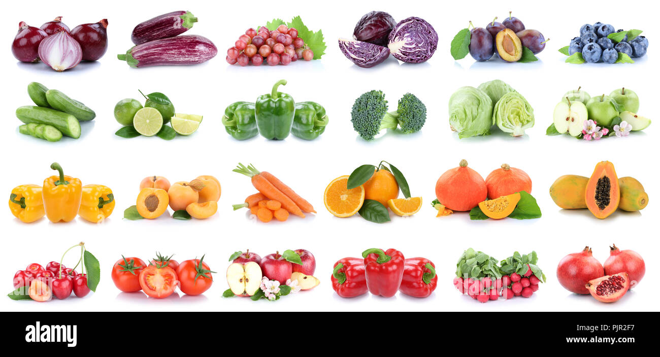 Fruits and vegetables collection isolated apples bell pepper oranges onion berries lettuce colors tomatoes fruit on a white background - Stock Image