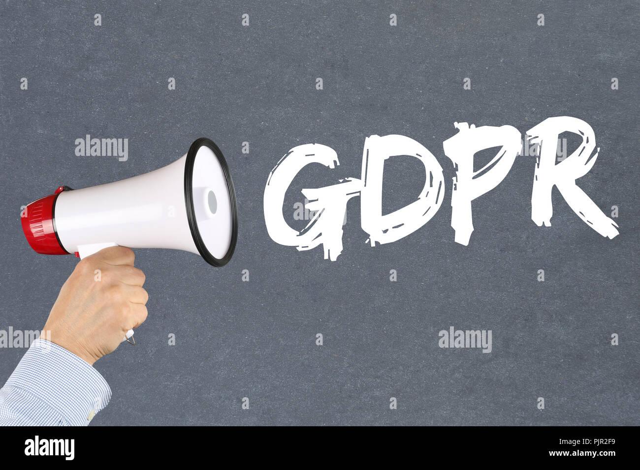 GDPR General Data Protection Regulation EU European Union websites internet hand with megaphone - Stock Image