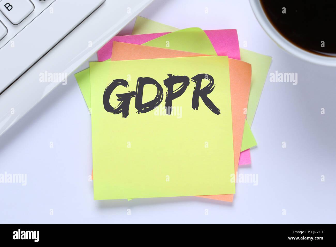 GDPR General Data Protection Regulation EU European Union websites internet office desk computer keyboard - Stock Image