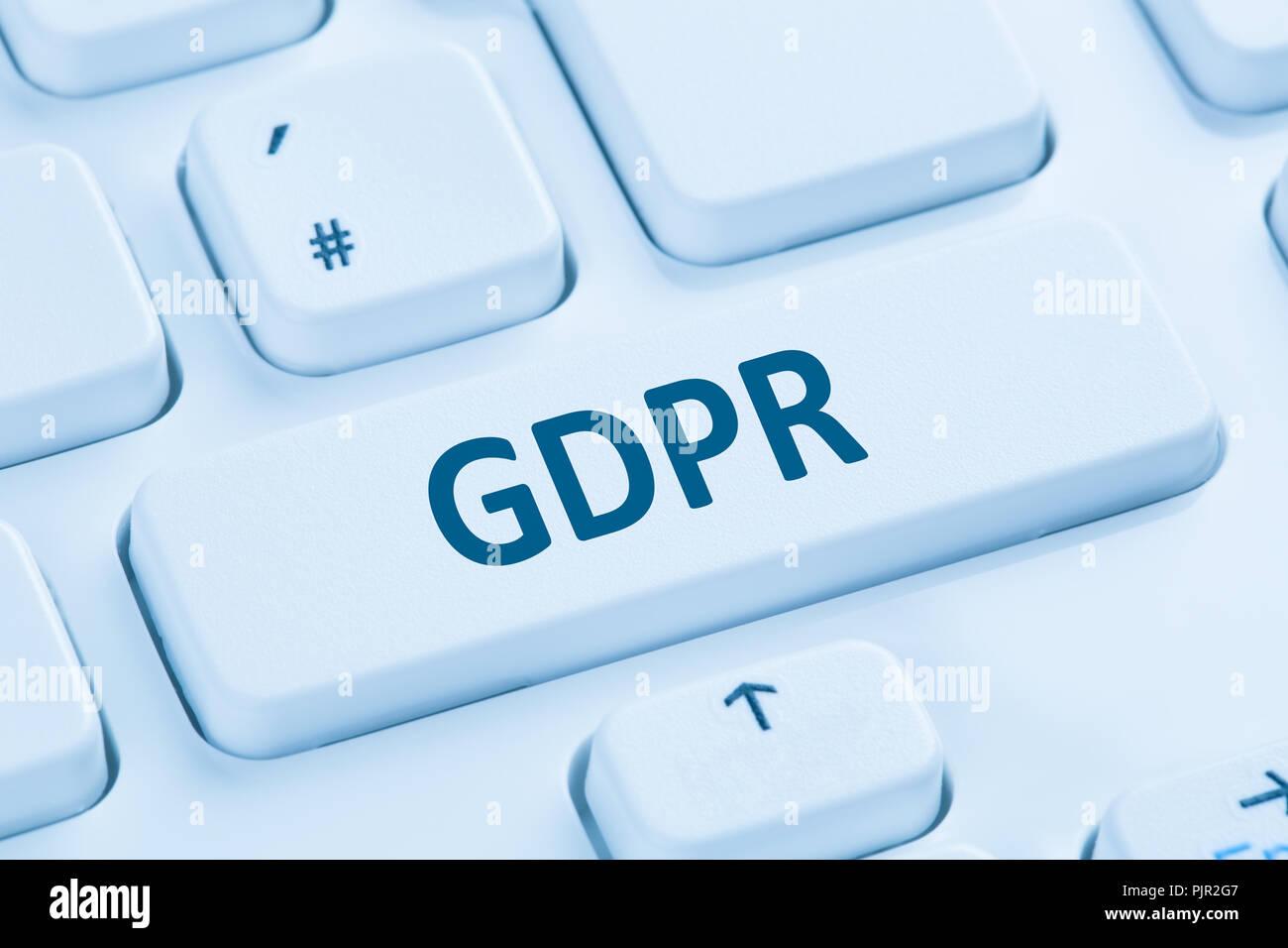 GDPR General Data Protection Regulation EU European Union websites internet blue computer keyboard symbol - Stock Image