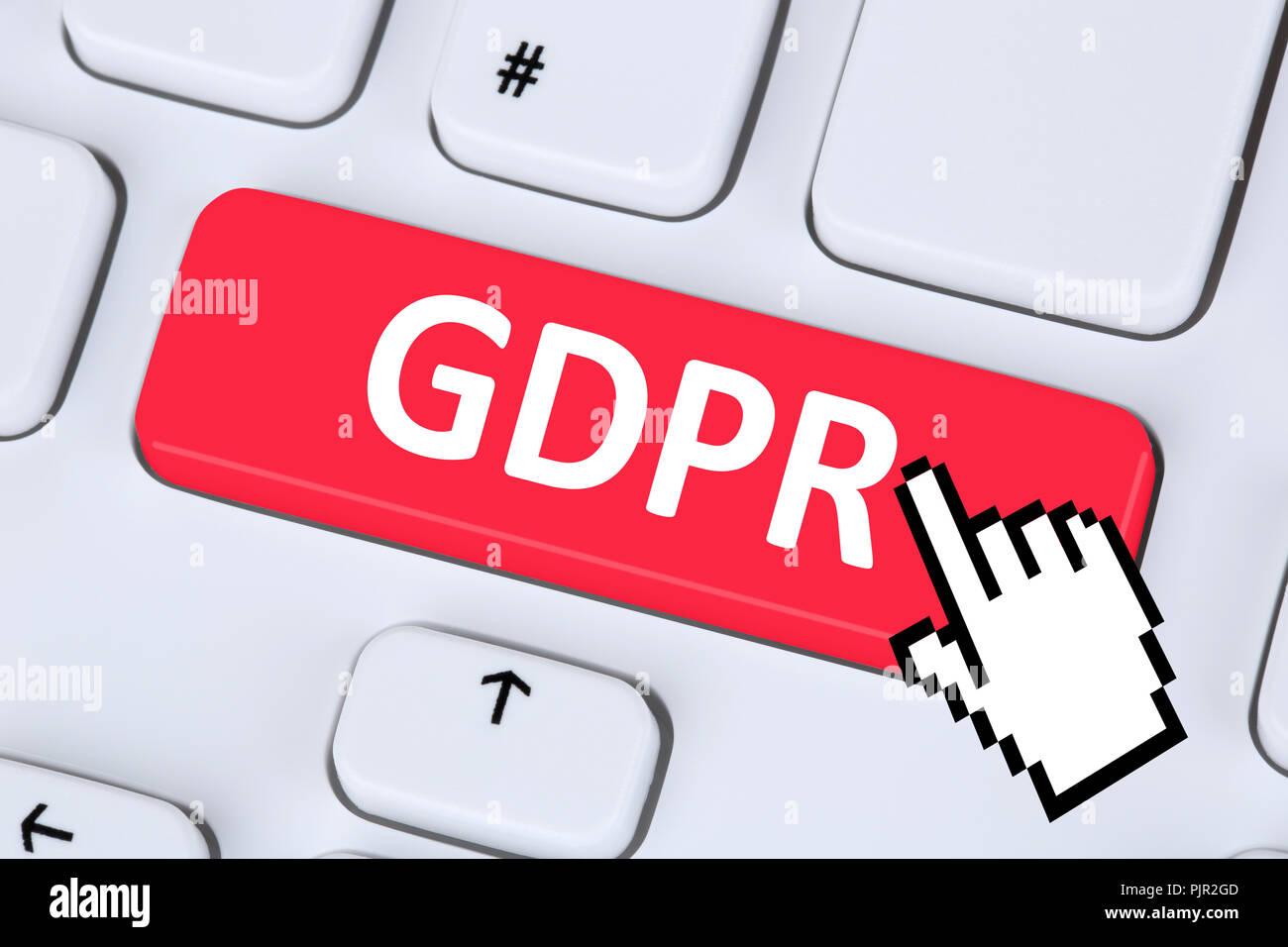 GDPR General Data Protection Regulation EU European Union websites internet online computer - Stock Image