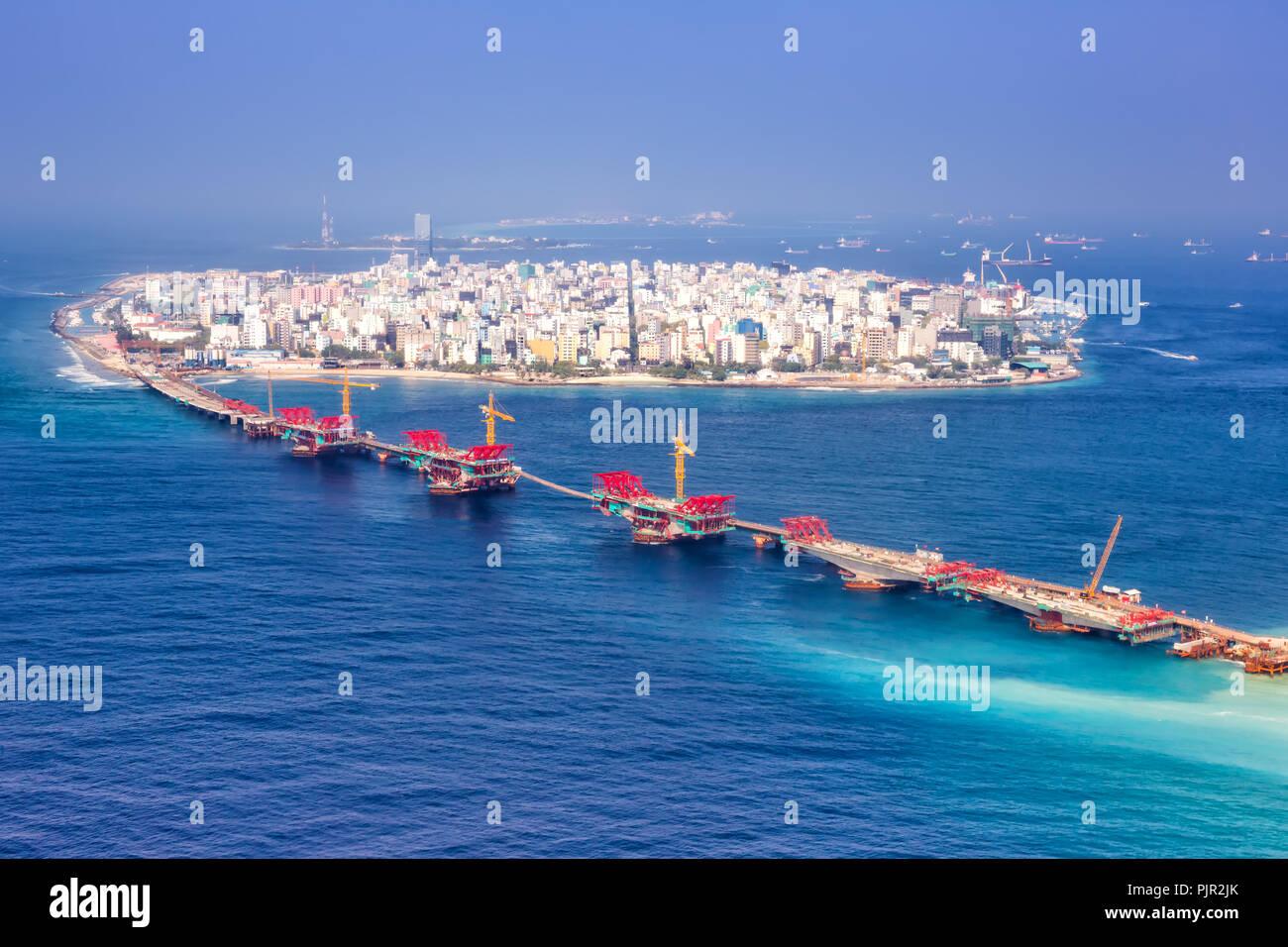 Maldives Male Capital City Island Ocean Bridge Aerial Photo