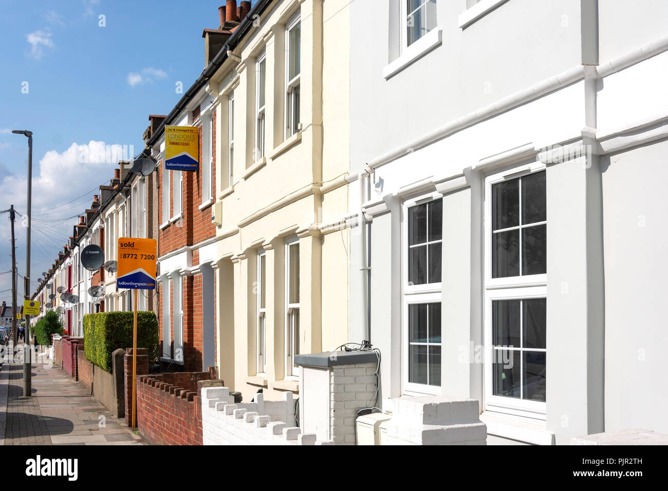 Terraced houses, Cilbey Road, Tooting, London Borough of Wandsworth, Greater London, England, United Kingdom - Stock Image