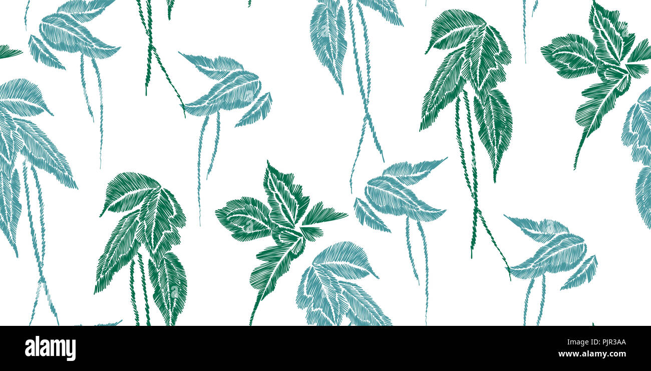 Tropical Leaves Seamless Background Pattern Vector Illustration Hand Drawn Embroidery Design Stock Photo Alamy Bring the tropics to you instead! alamy