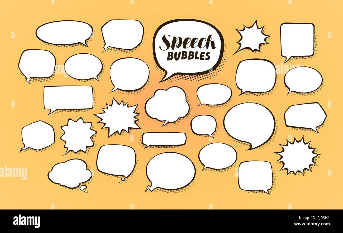 Comic speech bubbles with halftone shadows. Cartoon vector illustration - Stock Image