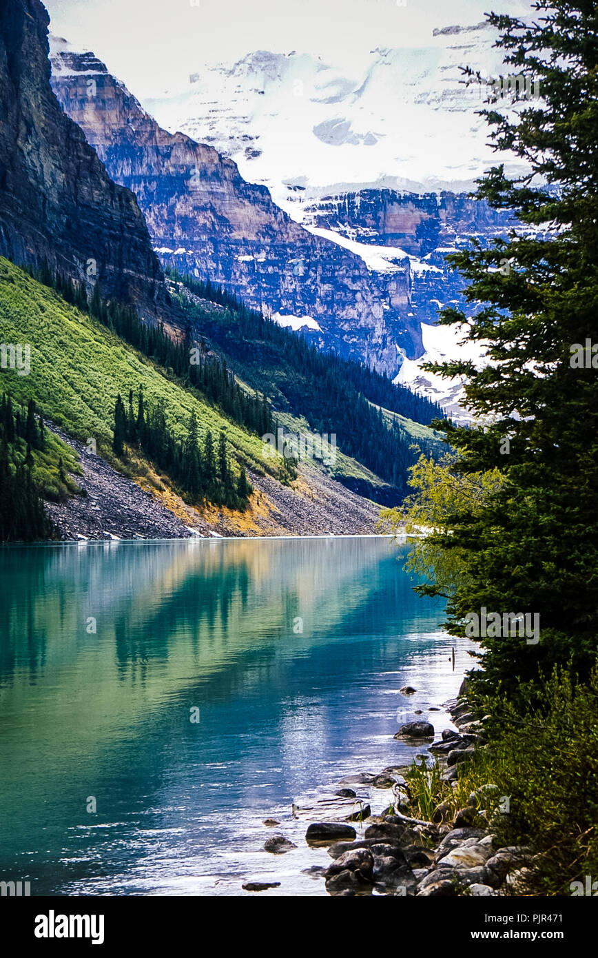 Beautiful views of Lake Louise in Banff National Park in the Rocky Mountains of Alberta Canada Stock Photo