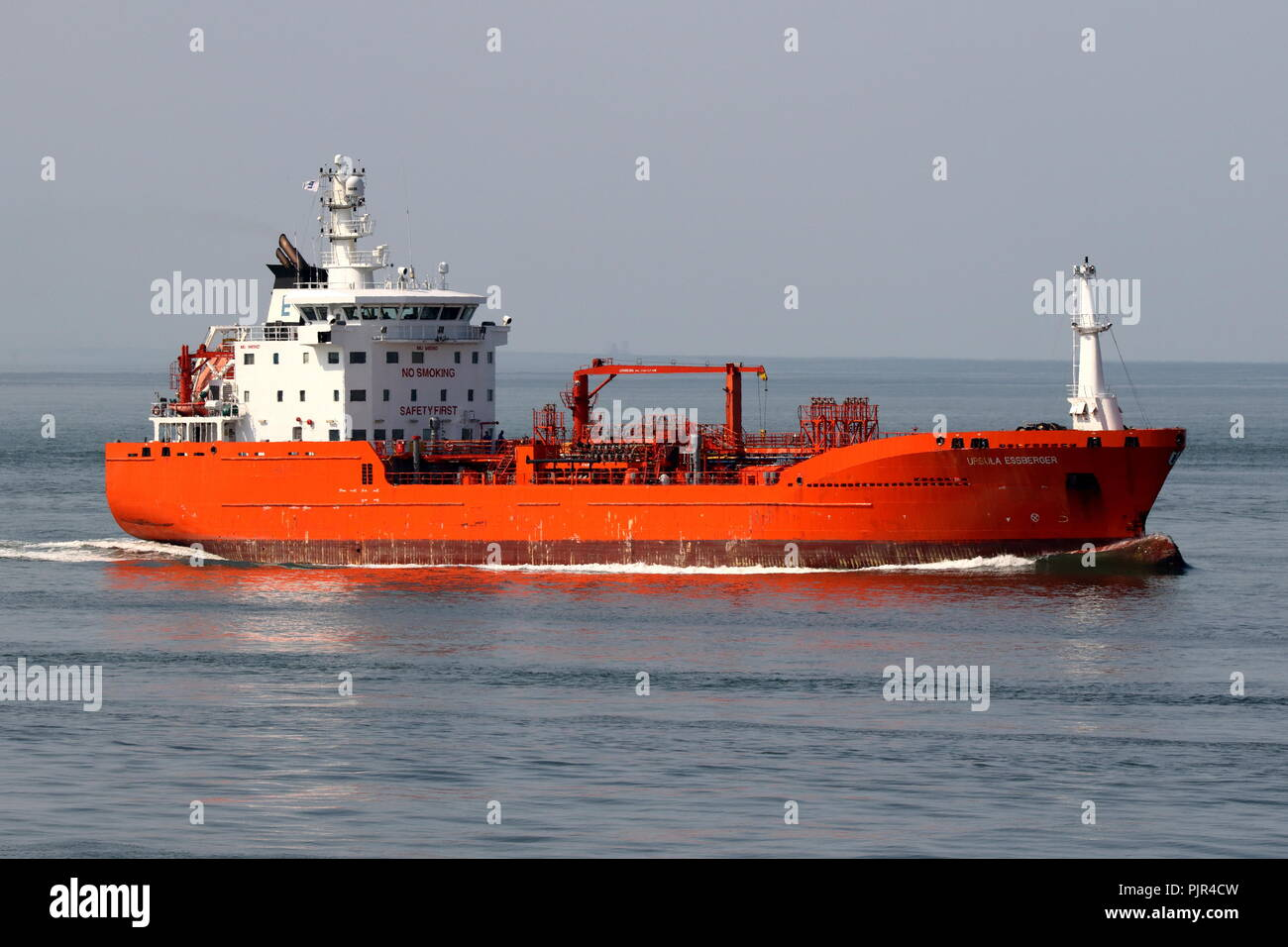 The tanker Ursula Essberger reaches the port of Rotterdam on 27 July 2018. - Stock Image