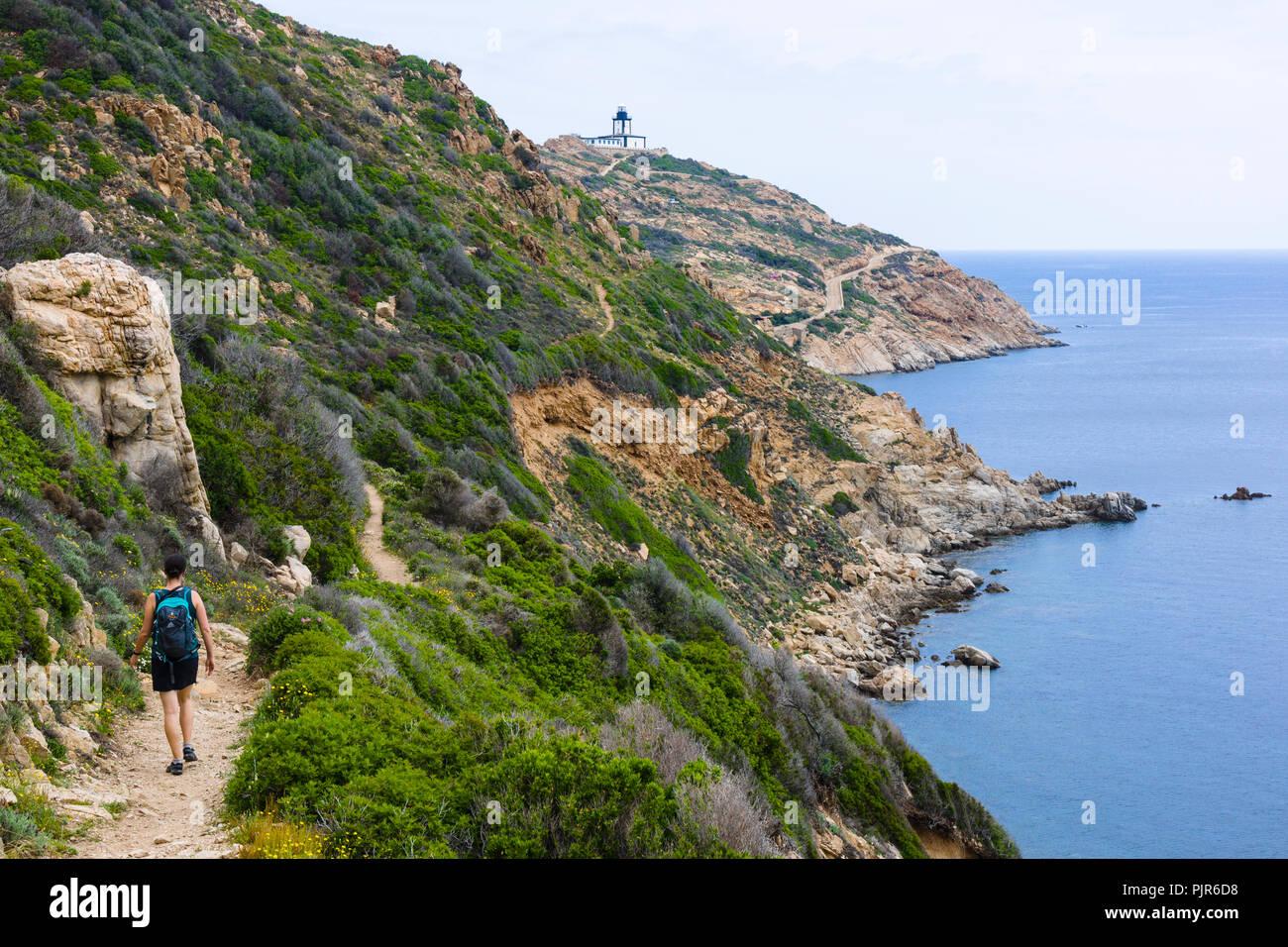 Sentier de la Revellata hiking trail, Pointe de la Revellata, Calvi, Corsica, France - Stock Image
