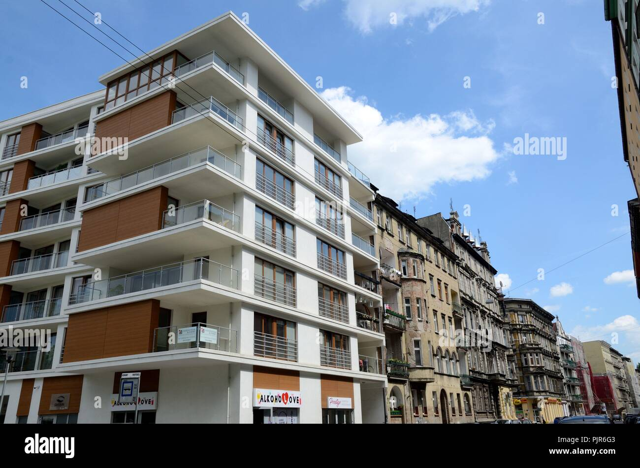 Wroclaw city with modern and classic architecture modern and old housing estate on 14th may 2017