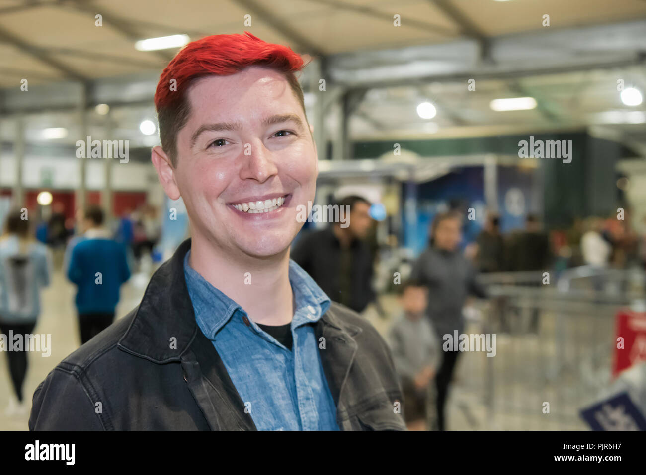 Lisburn, Northern Ireland. 08/09/2018 - Chad Ryan Johnson (OMGChad), a video blogger who hosts the Minecraft Vlog OMGCraft and the weekly video podcast Giz Wiz, with his characteristic red hair attends a Minecraft conference in Northern Ireland - Stock Image