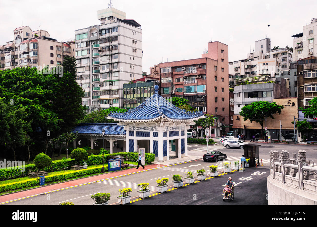 March 31, 2018.  Taipei, Taiwan.  Apartment buildings in the Zhongzheng district of Taipei Taiwan near the entrance of the National Theater Hall. - Stock Image