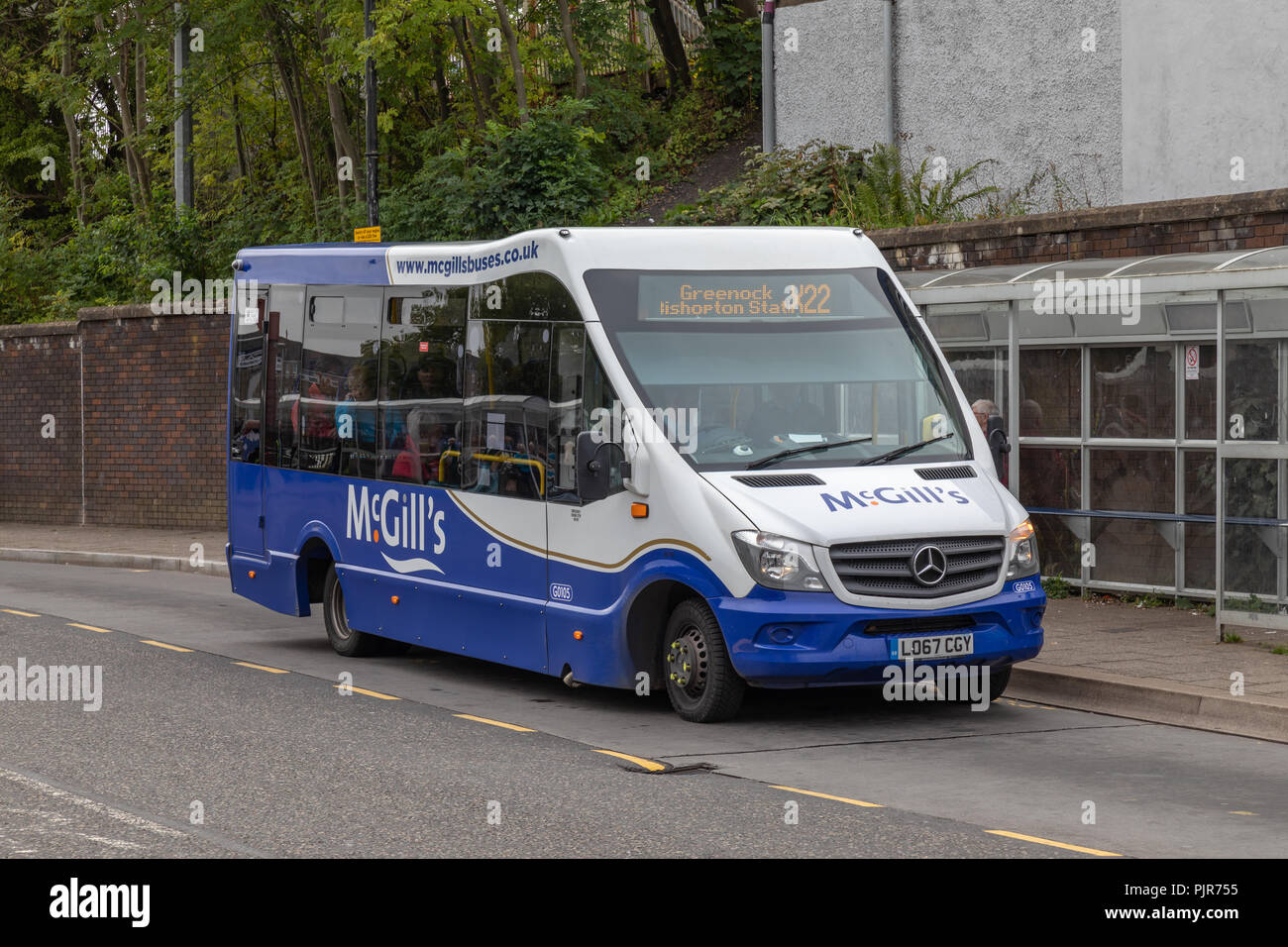 G0105, a McGills Mercedes Benz 516CDI bus at Clydebank operating the X22 service to Greenock - Stock Image