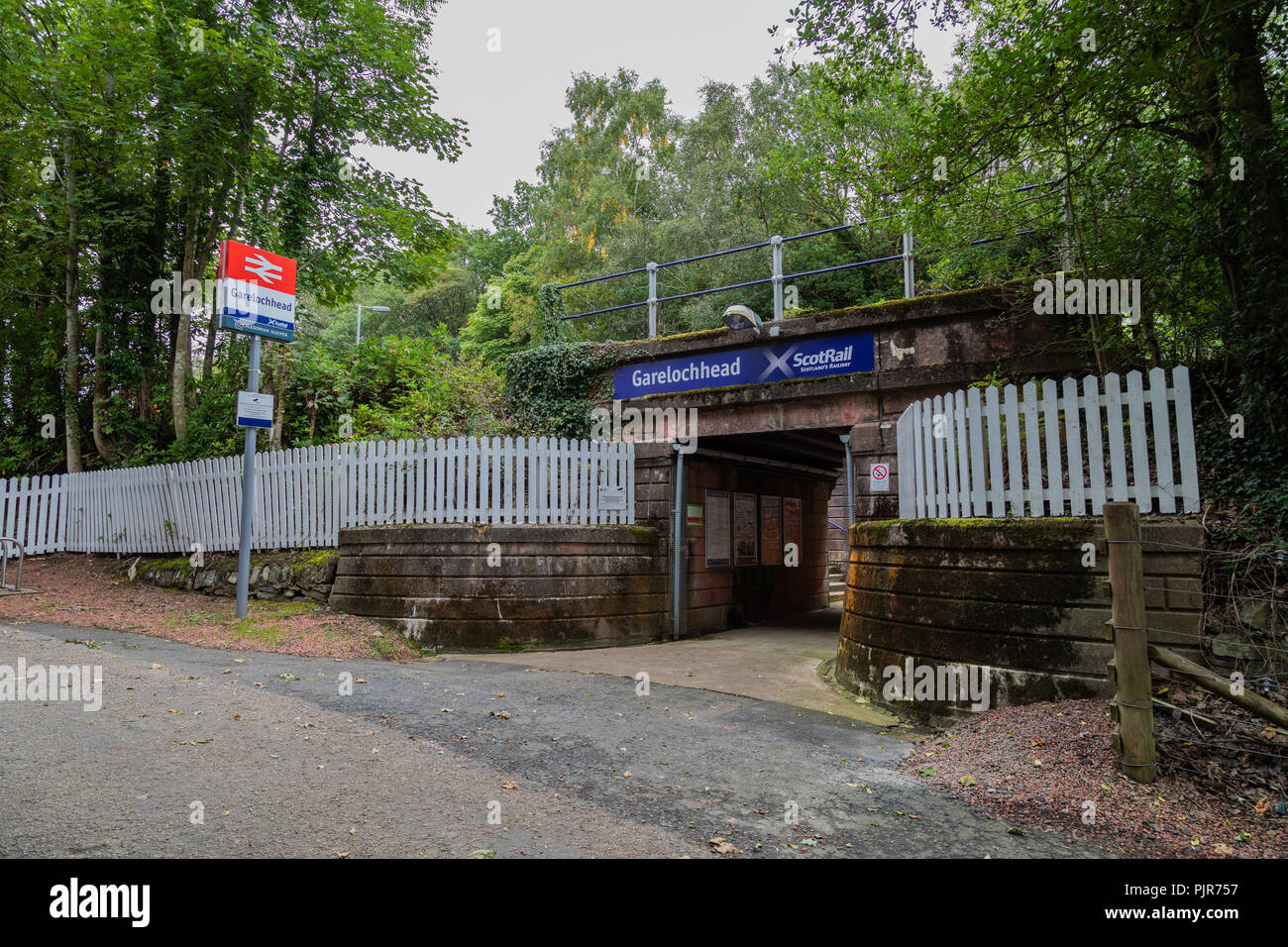 The entrance of Garelochhead train station in Argyll and Bute Scotland - Stock Image