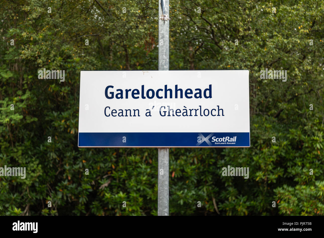 The station sign at Garelochhead Railway station near Helensburgh, Argyll and Bute - Stock Image