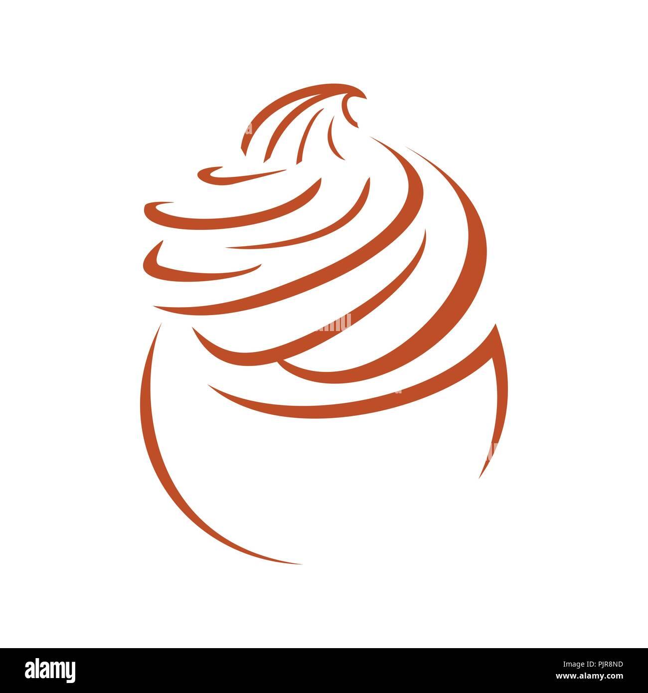 Cupcake Line Art Whip Cream Vector Symbol Graphic Logo Design