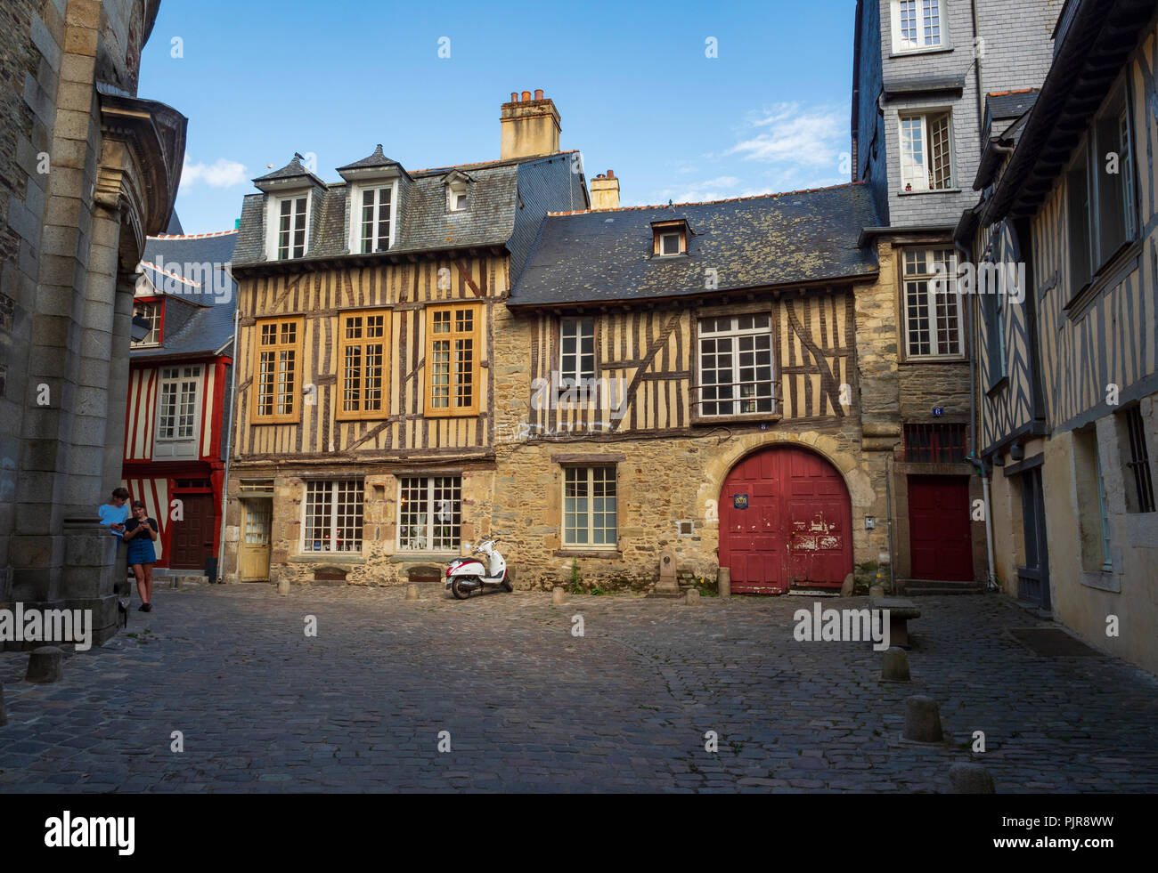 Half-timbered houses and cobbled streets, old Rennes, France. - Stock Image