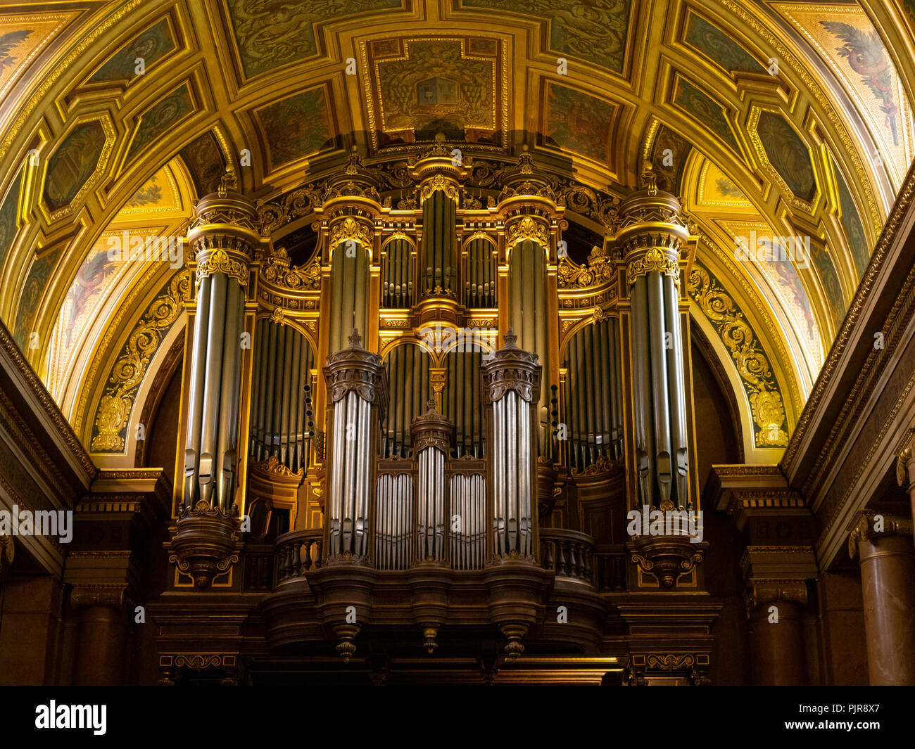 Great organs, cathedral Saint-Pierre of Rennes. - Stock Image