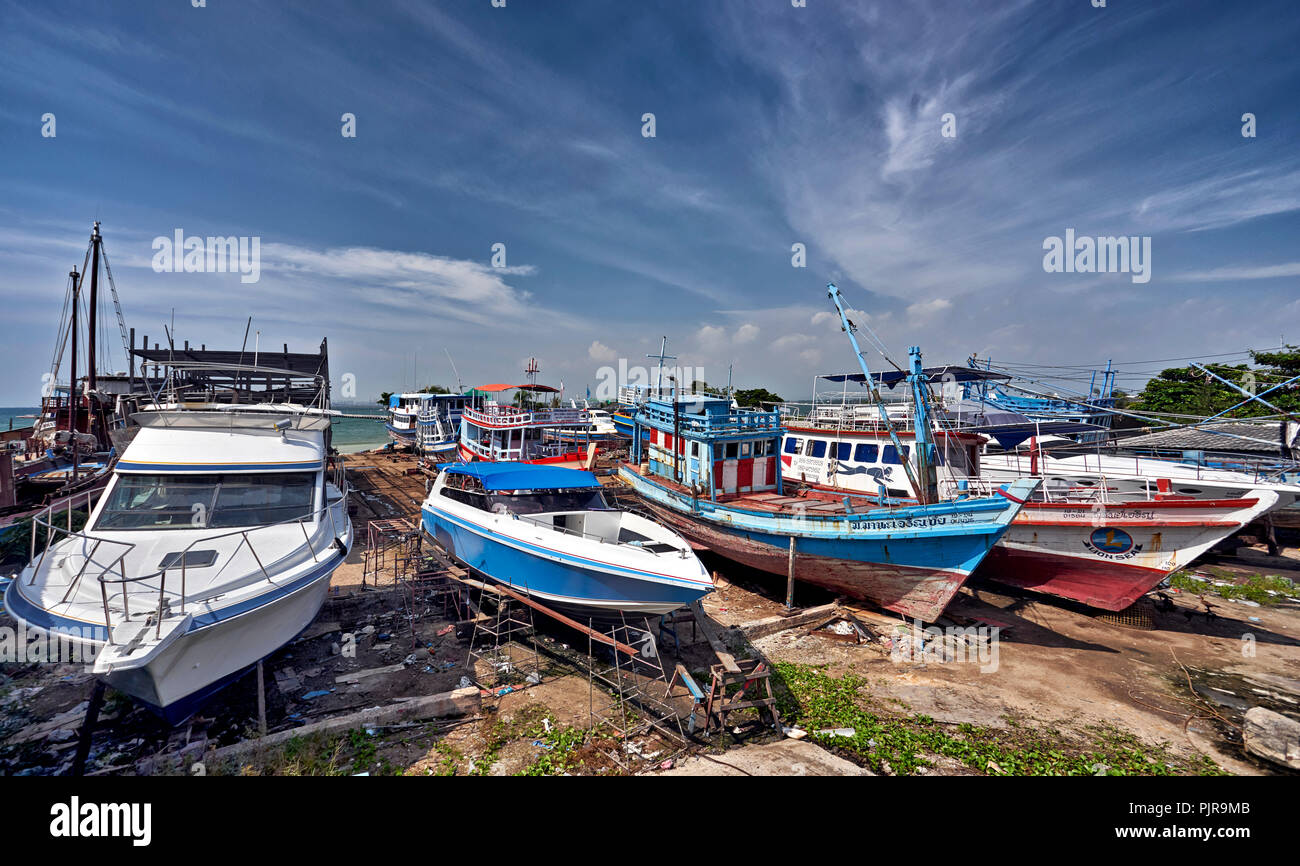 thailand boat yard with vessels undergoing renovation southeast