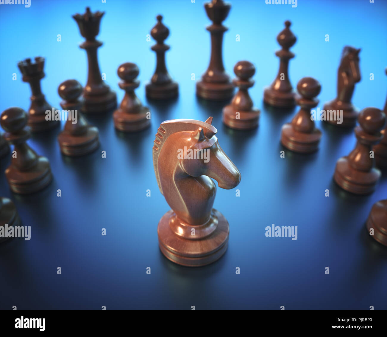 The Knight in highlight. Pieces of chess game, image with shallow depth of field. - Stock Image