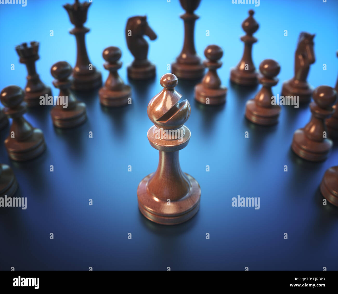 The Bishop in highlight. Pieces of chess game, image with shallow depth of field. - Stock Image