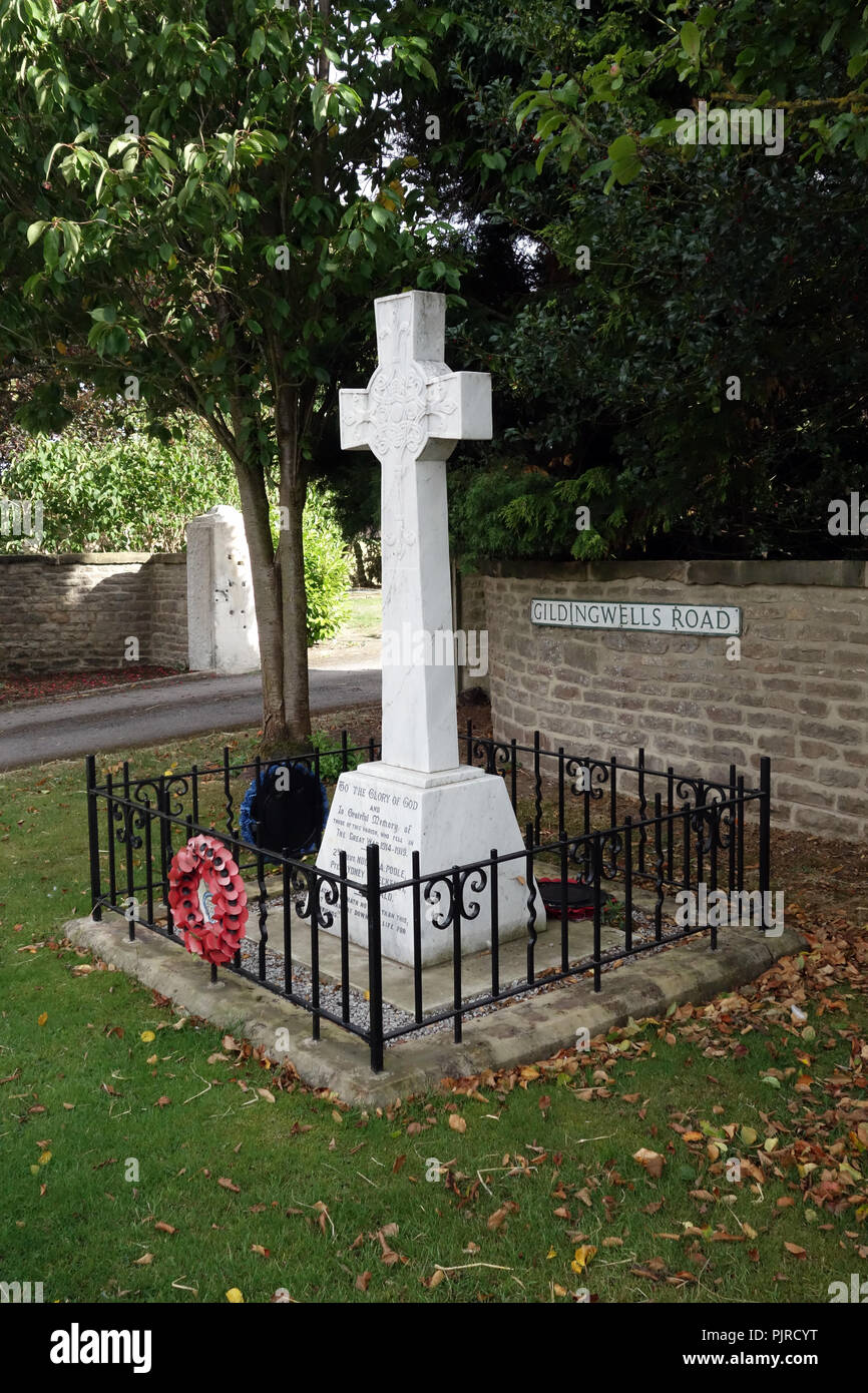 War Memorial Stone Cross at Letwell Village, South Yorkshire - Stock Image