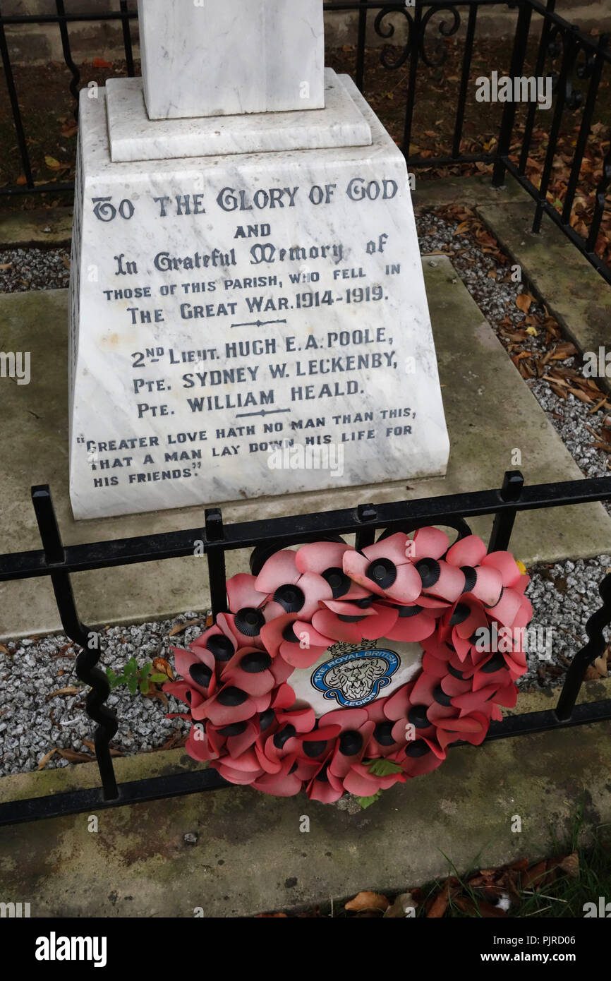 Wording detail on a War Memorial at Letwell Village, South Yorkshire, England - Stock Image