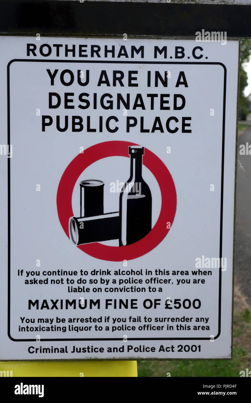 Rotherham Metropolitan Borough Council designated public space, drinking ban sign - Stock Image