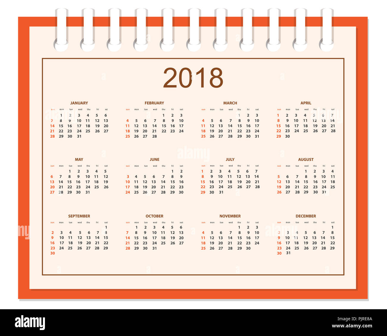 business english calendar for wall on 2018 year week starts on