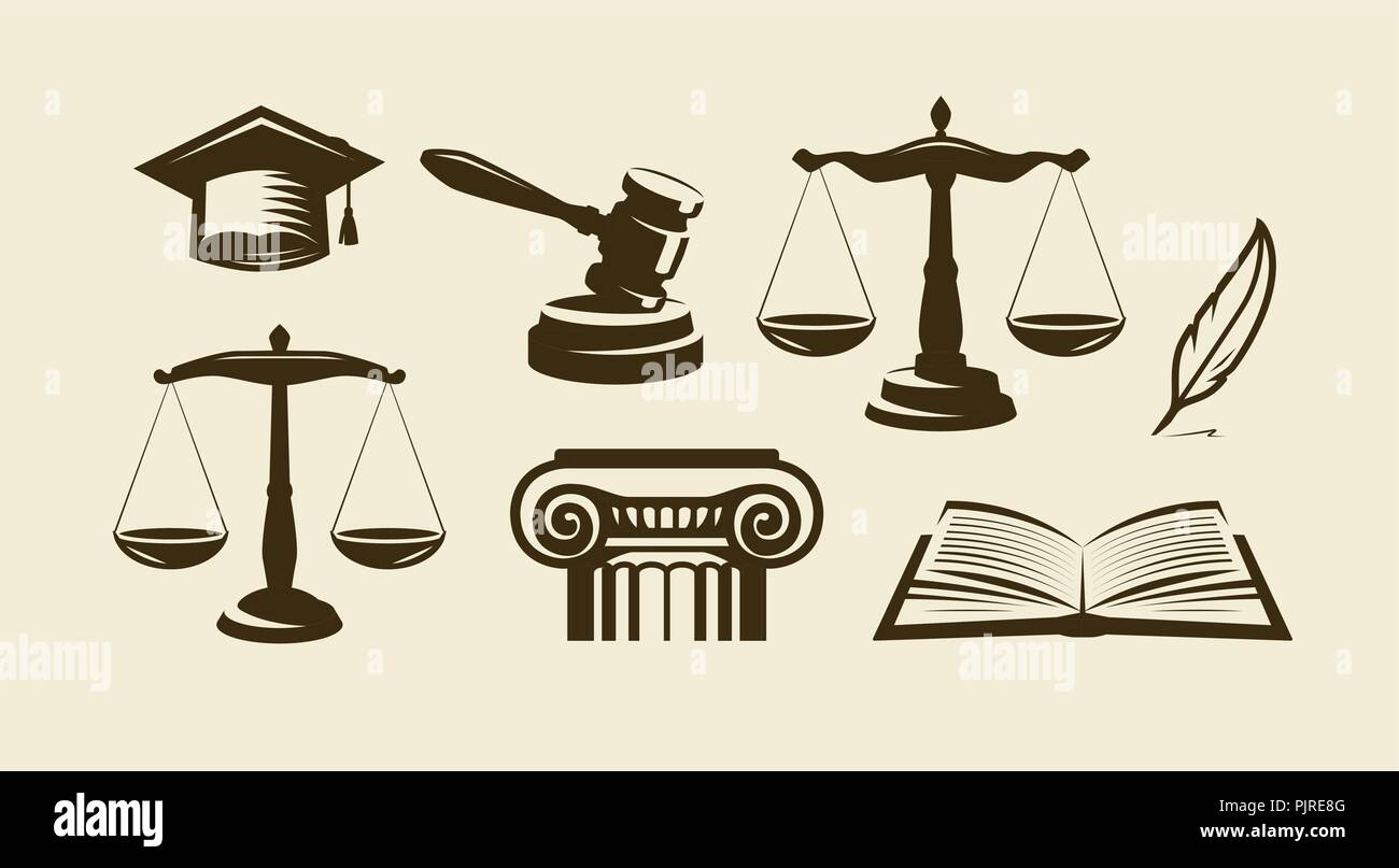Justice set of icons. Lawyer, advocate, law symbol. Vector illustration - Stock Vector