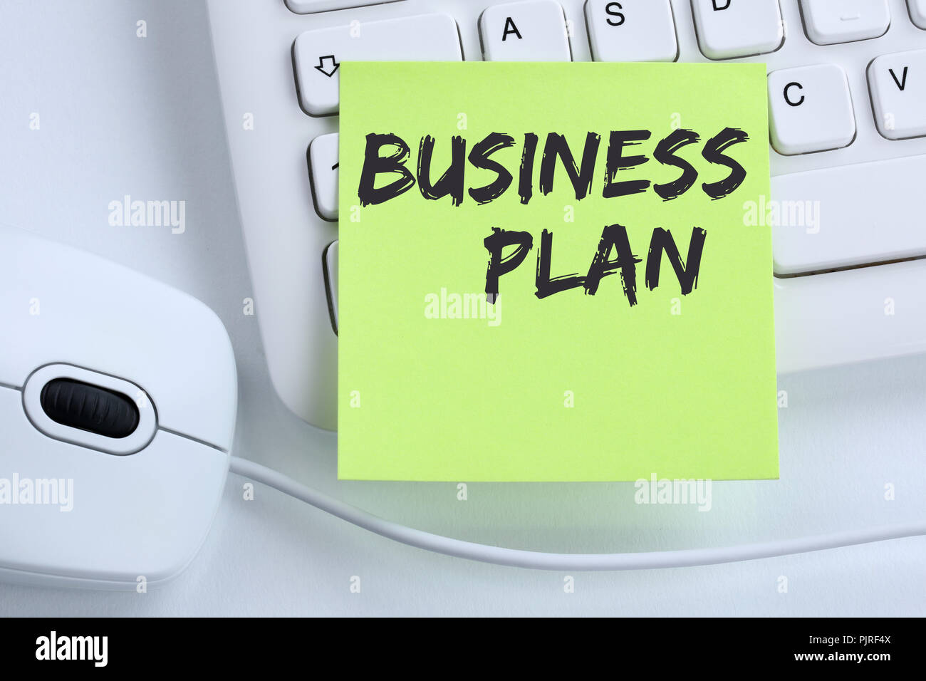 Business plan analysis strategy success concept company mouse computer keyboard - Stock Image