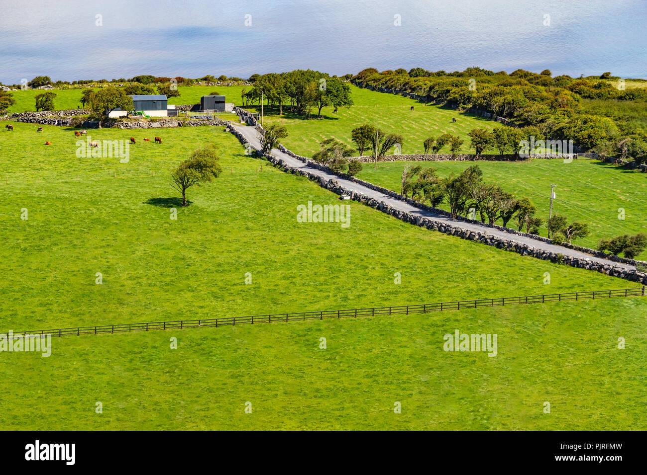 Farm and beach in Ballyvaughan, Clare, Ireland - Stock Image